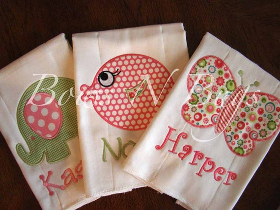 Set of 3 Applique Burp Cloths for Girls With Monogram - Great Baby Gift