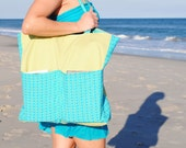 Beach Tote in Lime Green and Aqua Blue