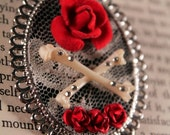 Rogue Taxidermy Bone Brooch with Roses. Gothic, Burlesque