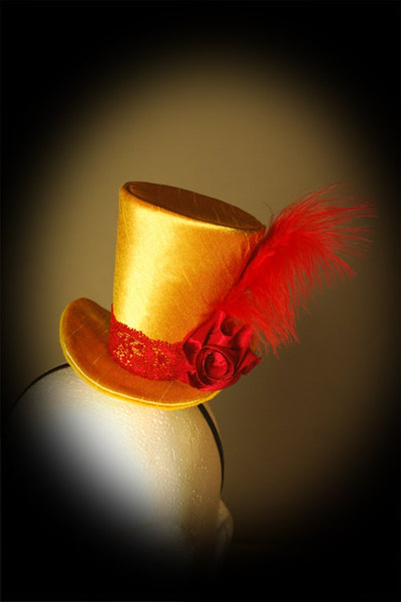 Burlesque, Gothic, Steampunk, Victorian, Showgirl, Moulin Rogue, Mini Top Hat Taffeta Goldy Iridescent, red flower, red feather