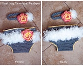 Instant Download PDF Feather Vintage Flower Headband And Diaper Cover Crochet PATTERN