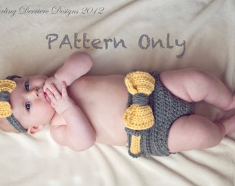 Instant Download PDF Bow Diaper Cover and Bow Headband  Crochet Pattern