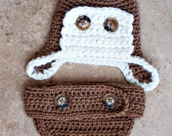 PDF Instant Download Crochet Aviator Hat and Crochet Diaper Cover PATTERN