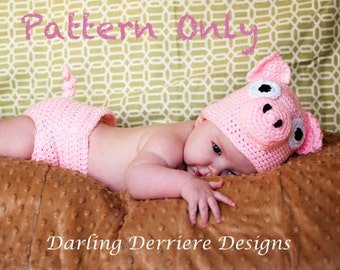 Instant Download PDF Pig Hat and Diaper Cover Crochet Pattern