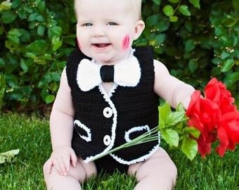 PDF Instant Download Vest, Bowtie, and Diaper Cover Crochet Pattern (BUNDLE)