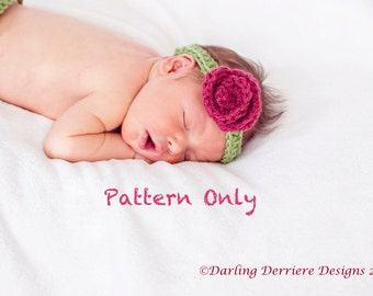 Instant Download PDF Pretty Spring Flower Headband Crochet PATTERN