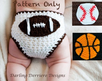 Instant Download PDF Sports Diaper Cover Crochet Pattern with Football, Baseball, and Basketball