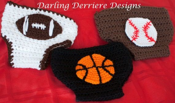 Free Crochet Pattern Football Diaper Cover : Instant Download PDF Sports Diaper Cover Crochet Pattern ...