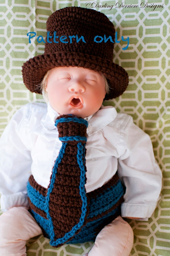 Book Cover Crochet Hats : Pdf instant download top hat tie and button diaper cover
