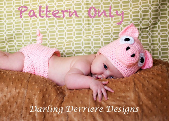 PDF Pig Hat and Diaper Cover Crochet Pattern