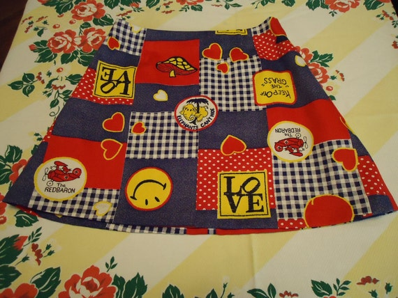Vintage 1970s Love and Happiness Mini Skirt