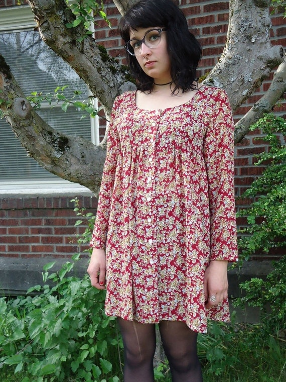 Vintage 1990s Floral Sheer GRUNGE BABYDOLL Dress Contempo Casuals