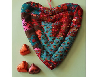 Handmade Potholder Heart Quilted Red/ Blue