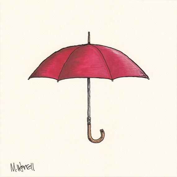 "Umbrella Series: Red -  6"" x 6"" - Ink, Colored Pencil"