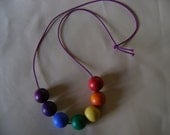 Rainbow Wood Bead Necklace