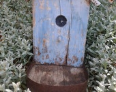 BLUE Bird House Style Collectible//Tin Roof//Shabby Chic//Perch with Patina//Bird Seed Tray