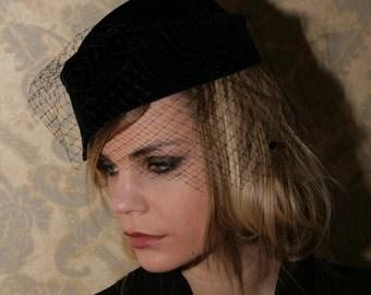 Velvet Hat, Handmade Hat, dotted Veil 1940's style