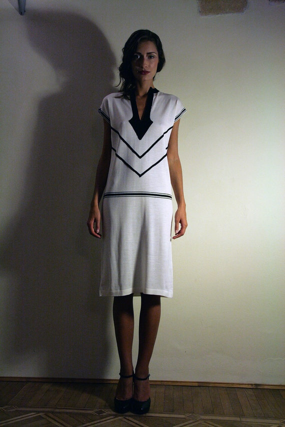 White Sweater Dress with black trim 1920's style