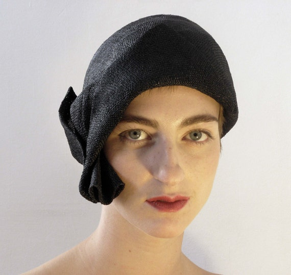 RESERVED FOR SHANDY - Black Hat,  1920's Flapper Style, handmade, straw Hat