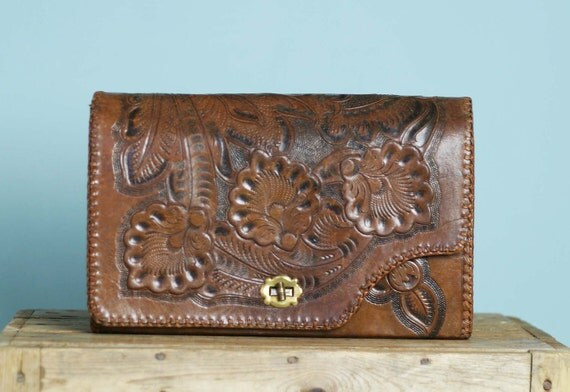 Large 70s Reversible Vintage Mexican Tooled Leather Bag Clutch Case Wallet Purse