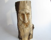 Wood Spirit, Rustic Home Decor, Garden Ornament, FREE SHIPPING, Wizard, Garden Gnome, Elf, Shelf Ornament, Wise Wizard