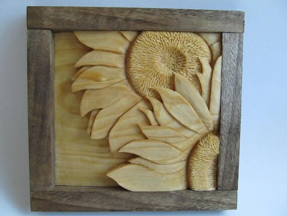 Sunflower, Sunflower Wall Carving, Sunflower Wall Decor, Flowers, Spring, Hand Carved, Gift for Mom, Gift for the Gardener
