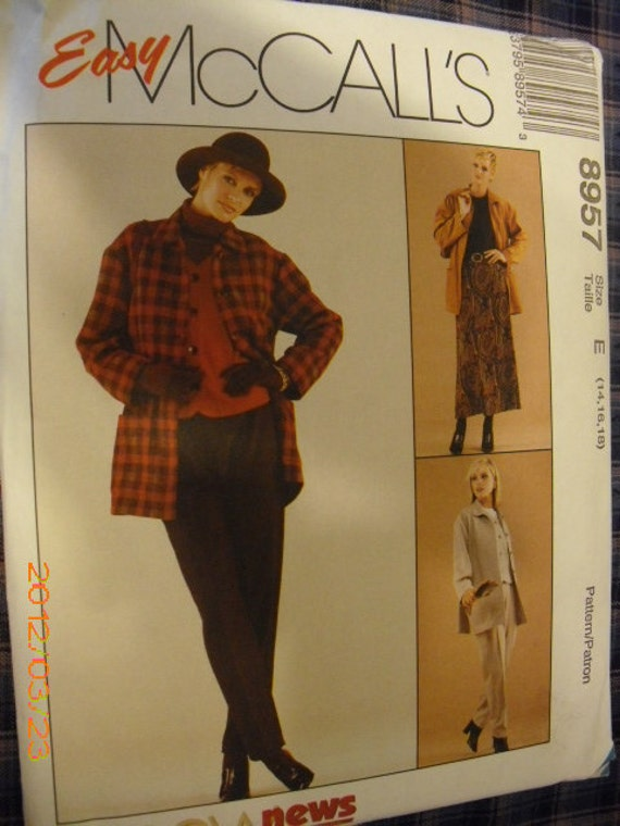 McCalls Jacket, Vest, Pants and Skirt Pattern 8957 Sizes 14, 16, 18 Back to School Clothes