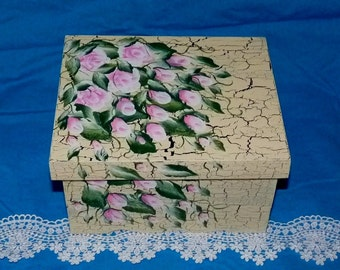 Personalized Wedding Keepsake Memory Box Hand Painted Wood Advice Box Shabby Chic Guest Book Box Wedding Card Box Distressed Pink Roses