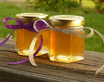 Golden Honey Wedding Favors with Gold Lids 12 Tennessee Wildflower Raw Honey 2oz Jars Pure Honey