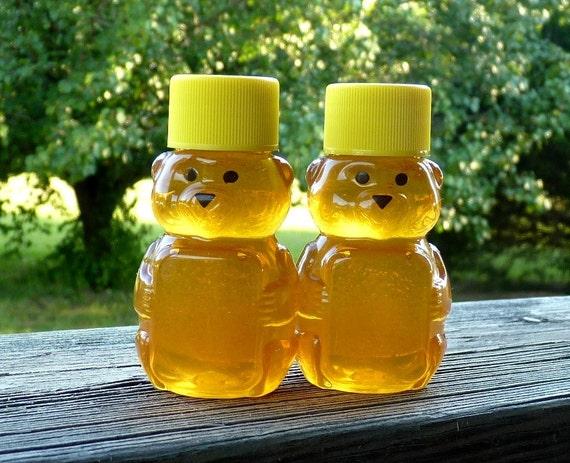HillsideBees Wedding Party Honey Favors, 12 Raw Wildflower Honey Wedding Favors 2oz Jars, Raw Honey, Tennessee Wedding Shower Honey Bears