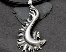 Sterling silver hand raised great crested newt pendant on leather
