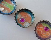 Jungle Animals Magnets, Upcycled Beer Bottlecaps, Set of Three
