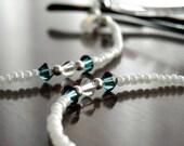 Pearl White Eyeglass Cord with Marine Blue Swarovski Crystals - Eyeglasses Chain Eyeglass Necklace Leash Eyeglass Necklace - Reading Glasses