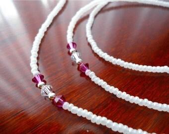 Pearl White Beaded Eyeglass Chain with Fuschia Swarovski Crystals - Glasses Chain Eyeglass Leash Necklace Sunglass Holder - Reading Glasses