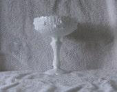 Fenton Pedestal Rose Milk Glass Candy Dish