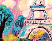 Paris Eiffel Tower INSTANT DOWNLOAD Art Print, Printable art wall decor, Natasha Wescoat