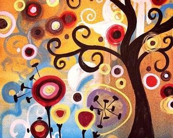 Pop Art TREE PRINT  Colorful Abstract home decor by Natasha Wescoat 8x10 12x16 13x19 16x20