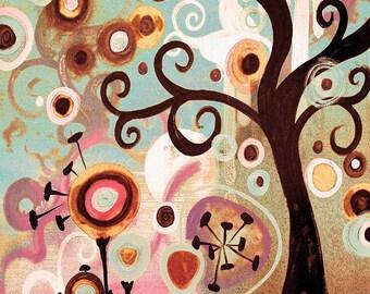 Spring TREE of Life ART Print   Nursery art, Home decor by Natasha Wescoat 8x10 12x16 13x19 16x20