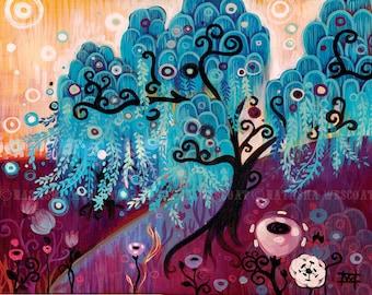 Blue Willow Landscape ART PRINT  Swirly Tree of Life by Natasha Wescoat 8x10 12x16 13x19 16x20
