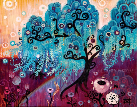 Swirly Willow Tree Folk Art LIMITED Edition Canvas Print by Natasha Wescoat - blue leaf