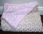 30 x 21 (S) Baby Pink Rosebud Minky and 2-Tone Cream/Brown Rosebud Minky Carrier Stroller Blanket