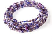Beaded Necklace With Soft Shades of Purple, and silver Beads