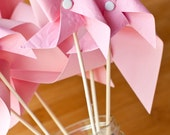 Perfectly pink paper pinwheels - Set of 6 paper pinwheels perfect for weddings and parties