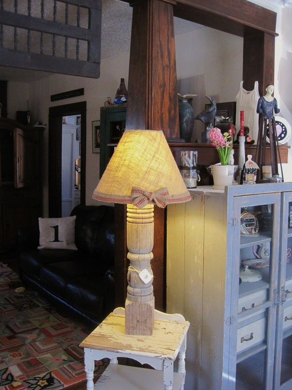RESERVED for Cindy - Upcycled Primitive Antique Lamp Made from Vintage Table Leg - Rustic, Shabby, Unique, Farmhouse Chic