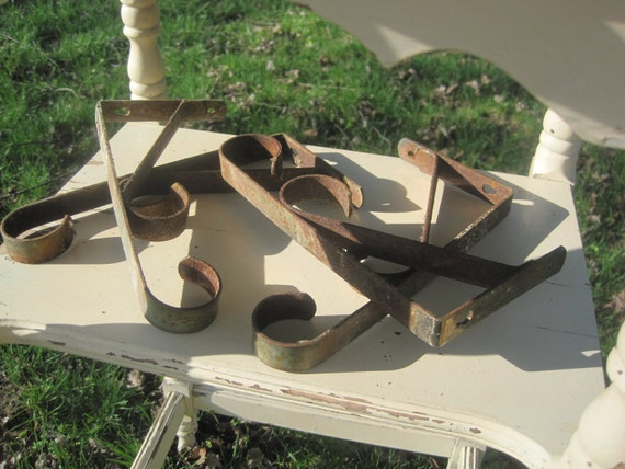 Reserved for Diane - Set of (4) Rusty, Chippy, Vintage, Metal FUNctional Wall/Shelf Brackets