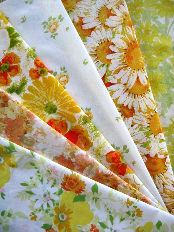 Vintage Sheet Fat Quarter Pack - 6 Reclaimed FQs in Orange and Yellows