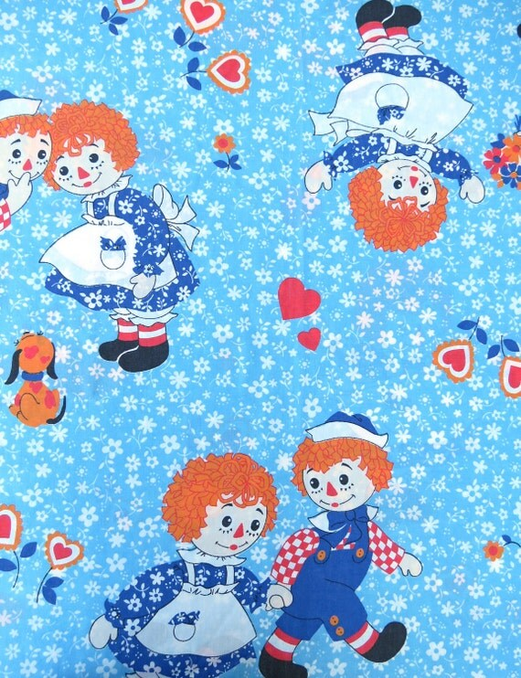 1970s 1980s Raggedy Ann and Andy on Blue and White Floral - Twin or Single Flat Vintage Sheet - Childrens Sheet