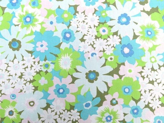 Half Yard of Vintage Sheet Fabric - Retro Green Floral