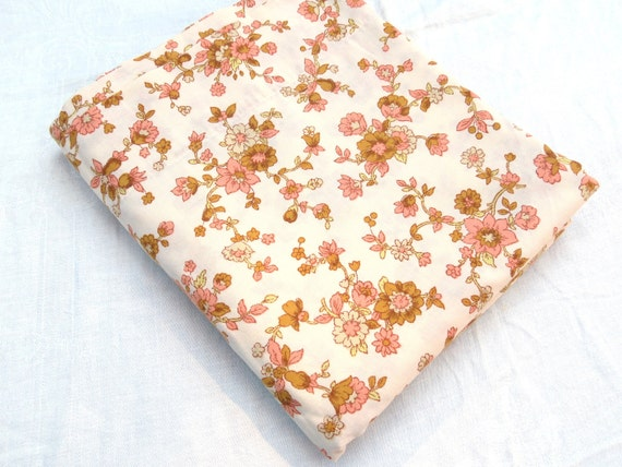 """Brown and Pink Floral Vines - Full or Double Flat Vintage Sheet - Approx. 81"""" x 104"""""""
