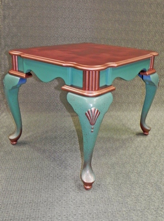 Custom painted teal copper shell coffee table by ttlgdecor for Teal coffee table